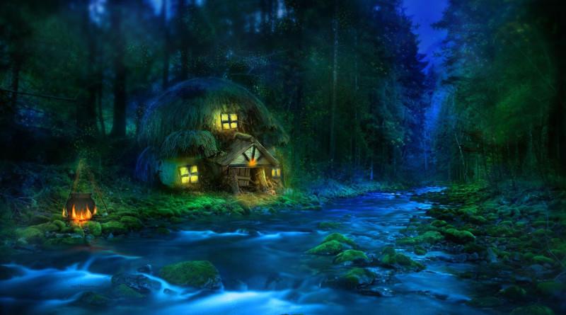 лес, хижина, сказка