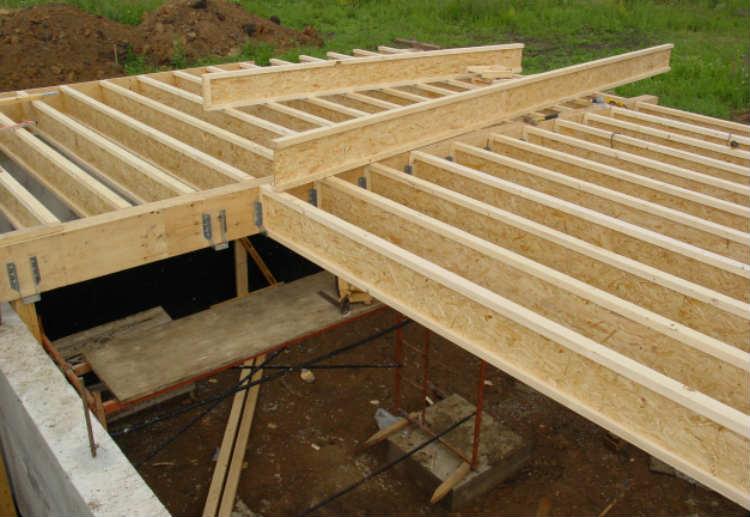 междуэтажное перекрытие из деревянных двутавровых балок